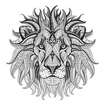 Tribal Lion Black and White by harshaldesai