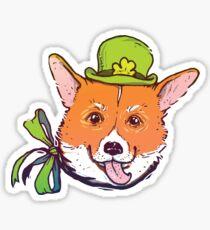 Corgi in green hat Sticker