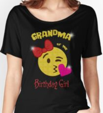Grandma of the Birthday Girl Emoji Birthday Party Women's Relaxed Fit T-Shirt