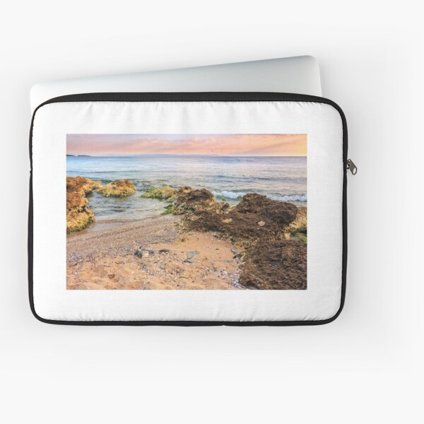 sea ​​waves running on sandy beach Laptop Sleeve