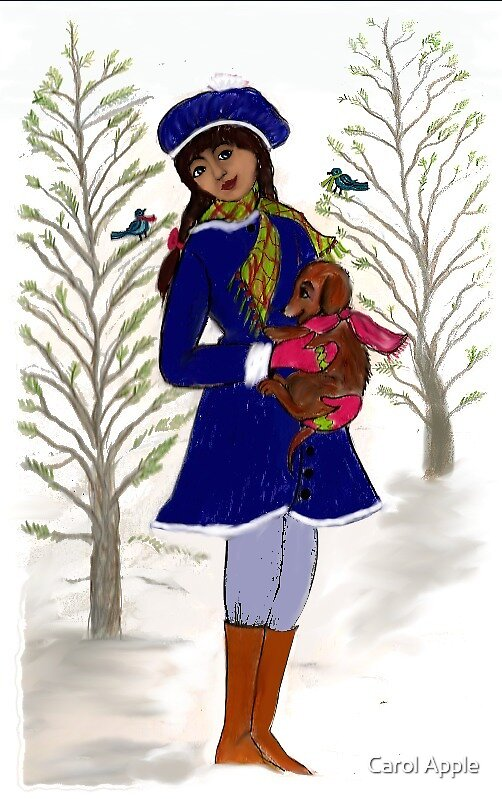 Girl with Dog in the Snow by Carol Apple