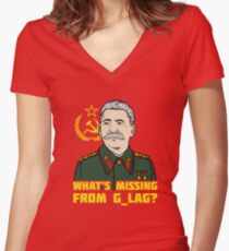 What's Missing From Gulag? Women's Fitted V-Neck T-Shirt
