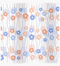 Simple kids floral pattern. Cute seamless background.  Poster
