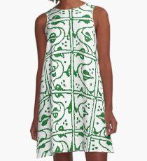 Leaf and Vines Green A-Line Dress