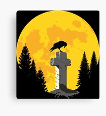 Crow on a cross in the moonlight Canvas Print