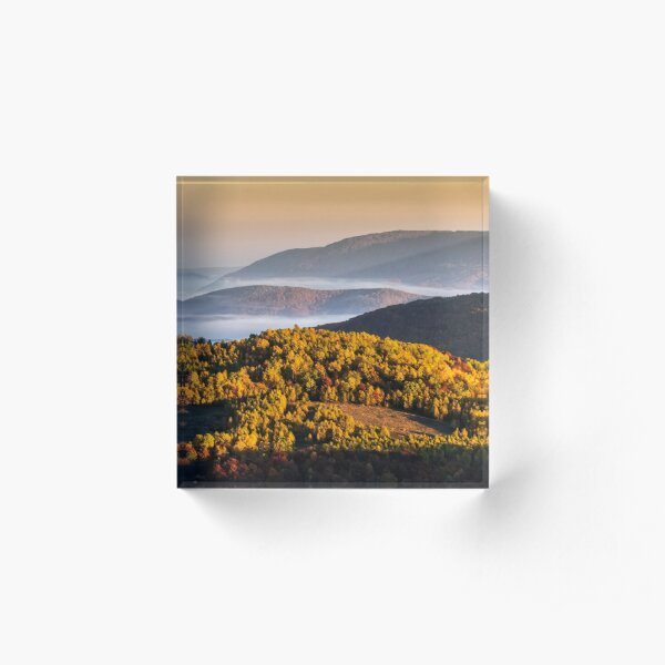 foggy and hot sunrise in Carpathian mountains Acrylic Block