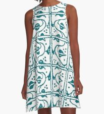 Leaf and Vines Turquoise  A-Line Dress