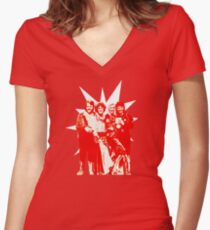 Björn & Benny, Agnetha & Anni-Frid - Red Ink Eurov. 1974 design Women's Fitted V-Neck T-Shirt