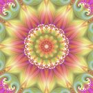 Beauty Mandala 03 in Pink, Yellow and Green by Kelly Dietrich