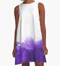 STORM PURPLE WATERCOLOUR A-Line Dress