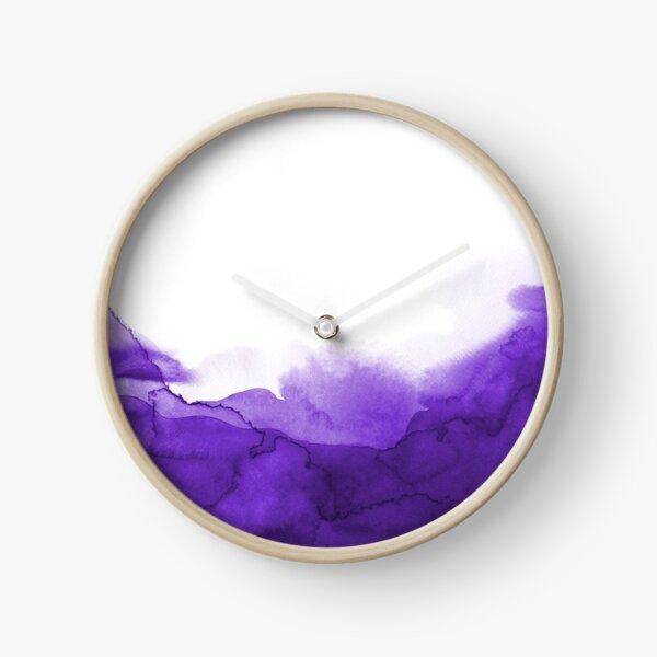 STORM PURPLE WATERCOLOUR Clock