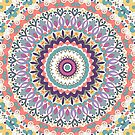 Bloom Mandala in Orange, Green, Yellow, Pink, Purple and White by Kelly Dietrich