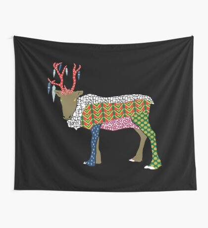 Abstract Reindeer Wall Tapestry