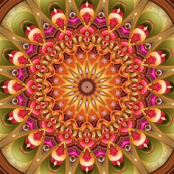 Dreaming in Color Mandala in Green, Pink, Orange, Yellow, and Brown by kellydietrich
