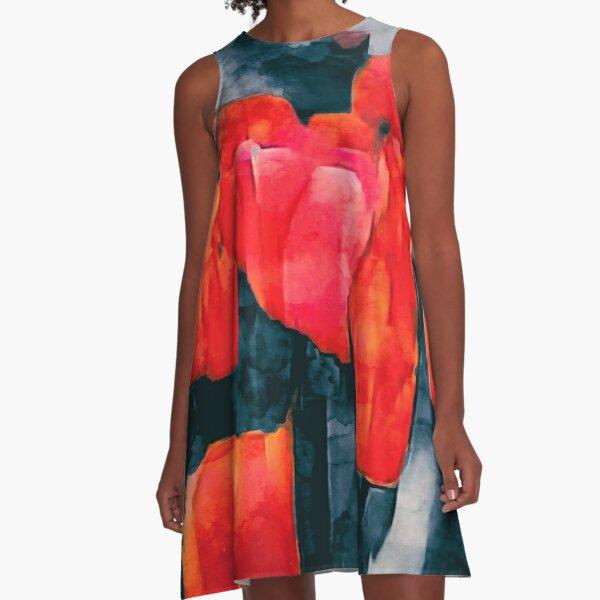 Tulip Field at Night A-Line Dress