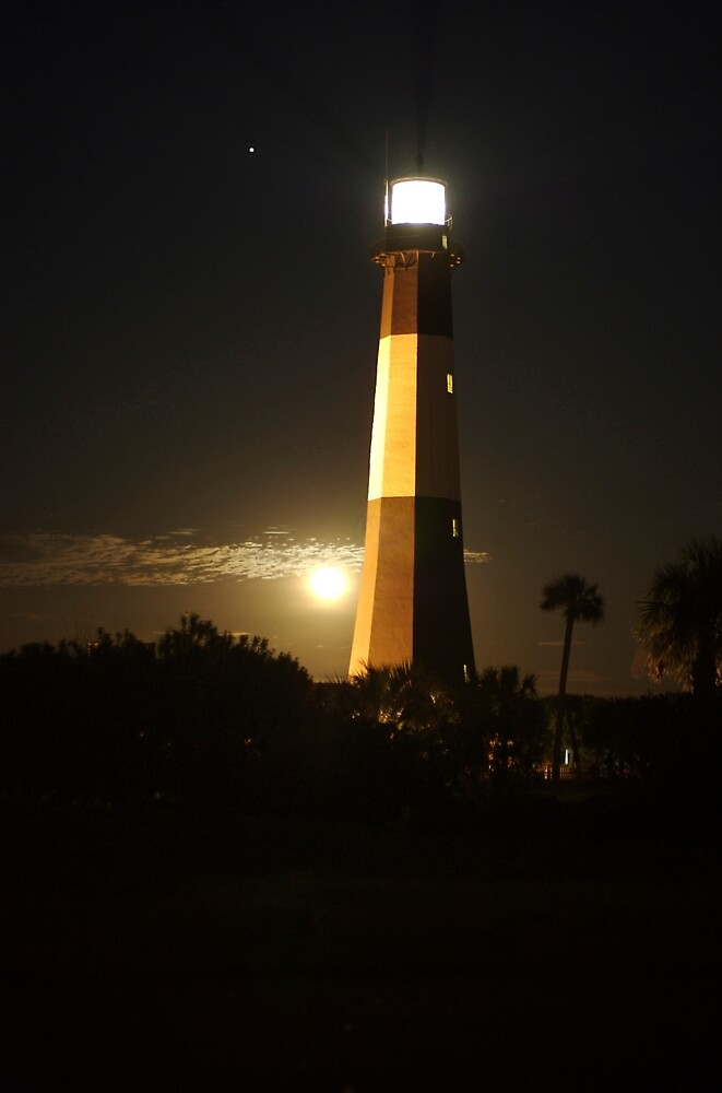 Moonrise Over Tybee Lighthouse by Sean Allocca