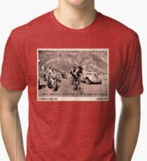TOUR de FRANCE: Vintage 1952 Fausto Coppi Advertising Print Tri-blend T-Shirt