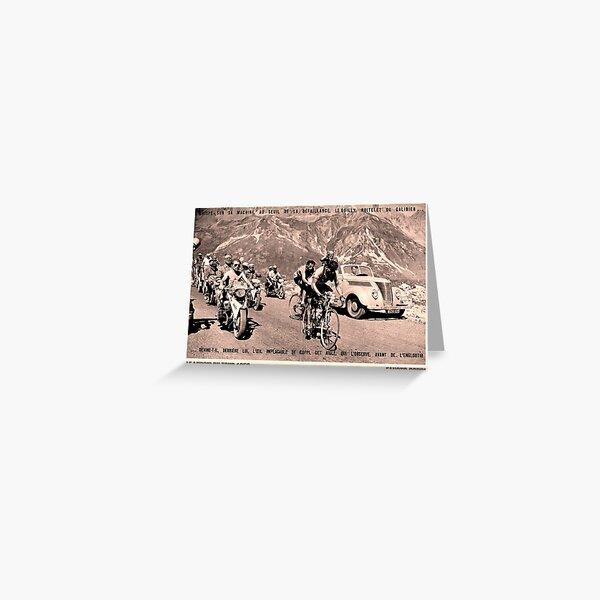 TOUR de FRANCE: Vintage 1952 Fausto Coppi Advertising Print Greeting Card