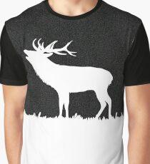Roaring Deer Silhouette on Black Graphic T-Shirt