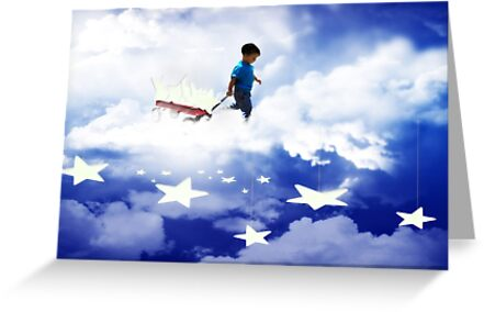 Star Boy Pulling Little Red Wagon by Gravityx9