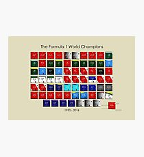 Periodic table of F1 World champions - PLEASE ONLY PRINT LARGE Photographic Print