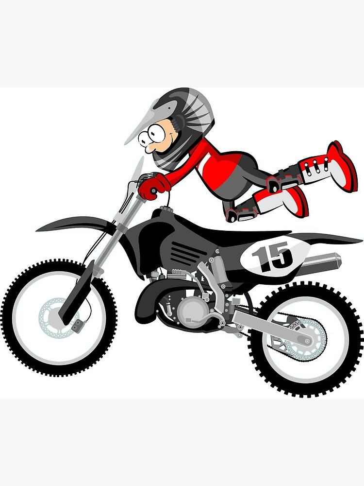 Carte De Vœux Motocross Red Rider Style De Dessin Anime Par Megasitiodesign Redbubble