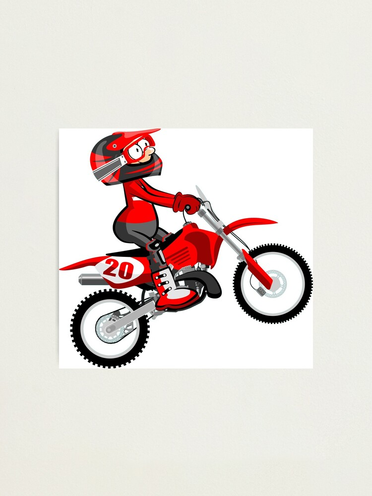 Impression Photo Motocross Red Rider Style De Dessin Anime