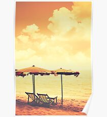 Tropical beach retro style Poster