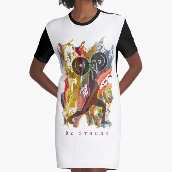 BE STRONG - POWER WEIGHTLIFTER Graphic T-Shirt Dress