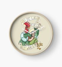 Alan-A-Dale Rooster : OO-De-Lally Golly What A Day Tattoo Watercolor Painting Robin Hood Clock