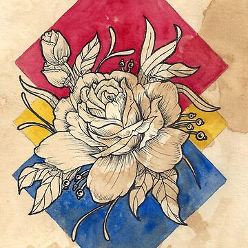 Rose Neo Traditional Tattoo Design  Watercolor Painting - Inked Line Art by Rvaya