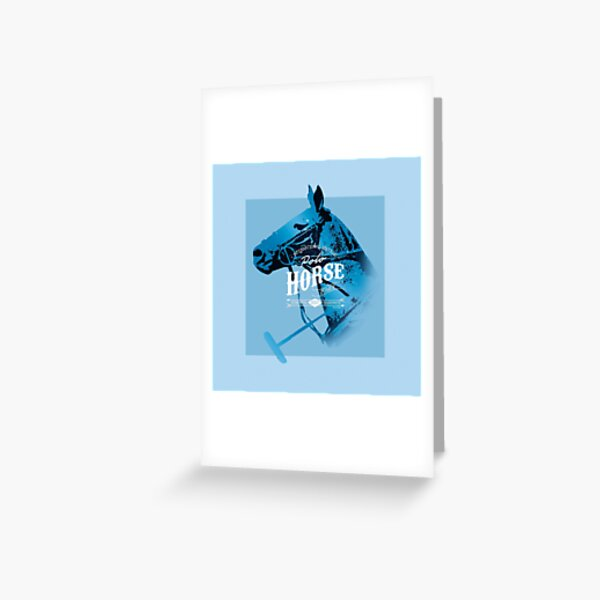 polo horse vintage blue Greeting Card