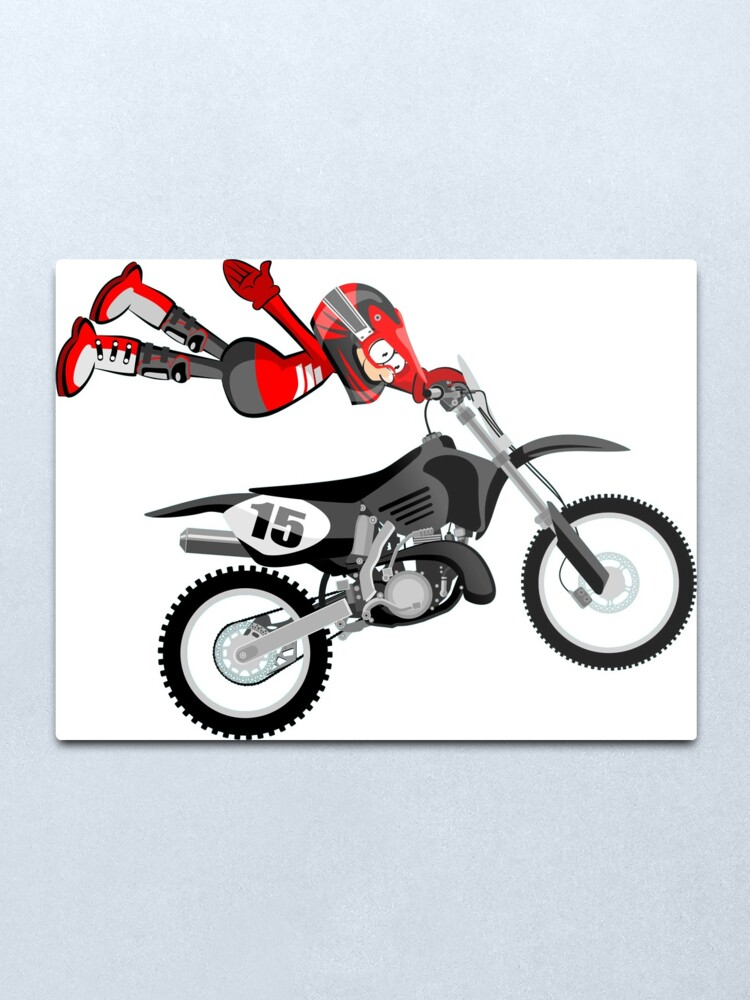 Motocross Red Rider Flying Cartoon Style Metal Print By Megasitiodesign Redbubble