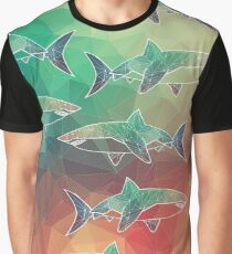 Geometric Sharks Graphic T-Shirt
