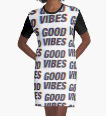 Good Vibes Techicolor Graphic T-Shirt Dress