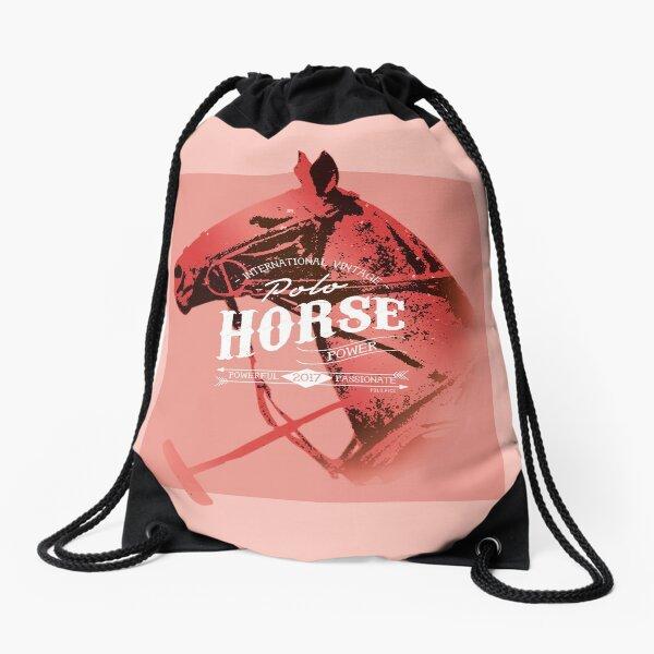 polo horse vintage red Drawstring Bag