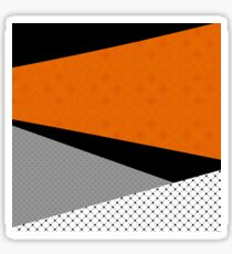 Abstract black orange painting . Sticker