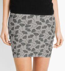 Ginkgo Vector Black on Warm Grey Mini Skirt