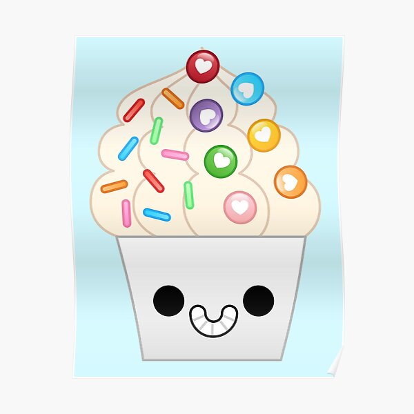 kawaii rainbow frozen yogurt Poster