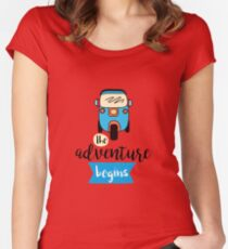 Adventure begins lettering and tuk tuk car, Women's Fitted Scoop T-Shirt