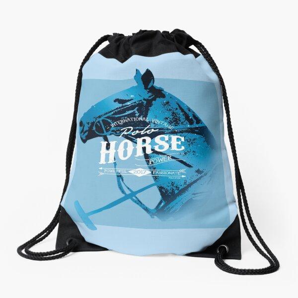 polo horse vintage blue Drawstring Bag