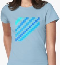 Blue pixel wave Womens Fitted T-Shirt