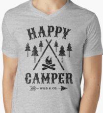 Happy Camper distressed black Mens V-Neck T-Shirt