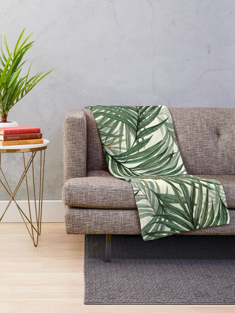 Alternate view of Palm Leaves Throw Blanket