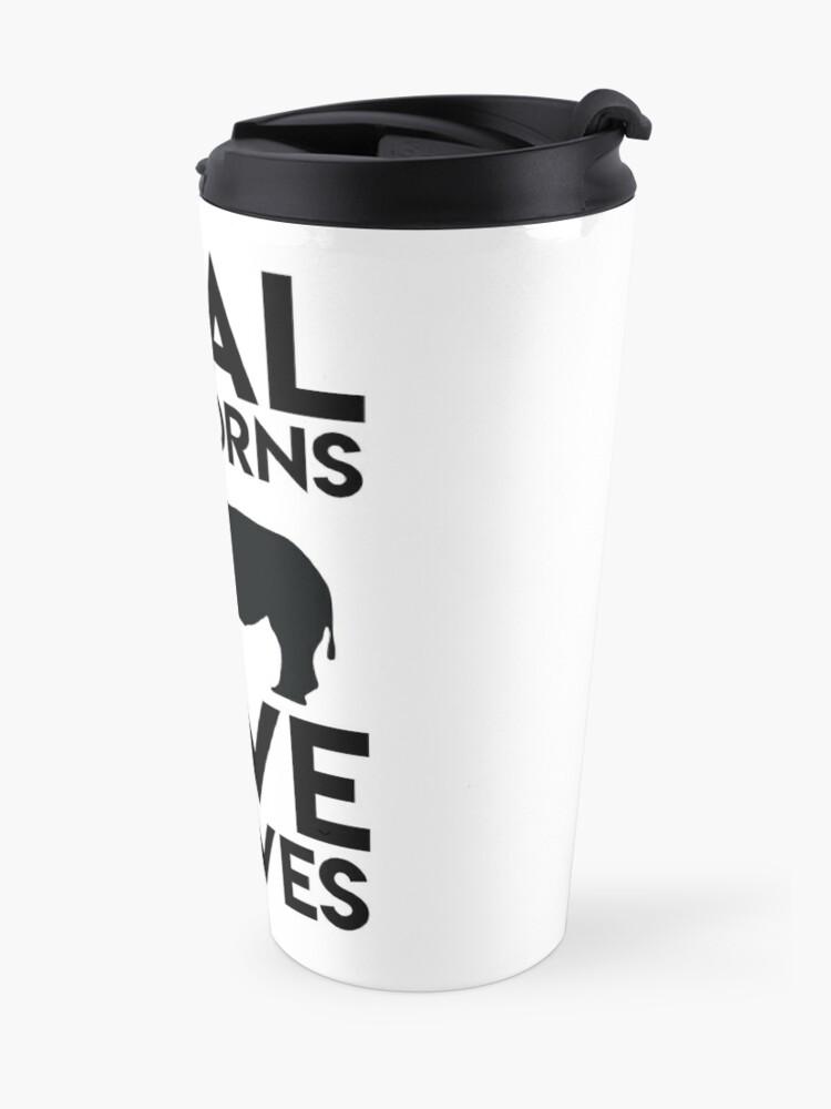 Alternate view of Real Unicorns Have Curves Travel Mug