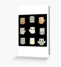 Cute owls on a black background Greeting Card