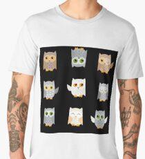 Cute owls on a black background Men's Premium T-Shirt