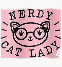 Nerdy Cat Lady Poster