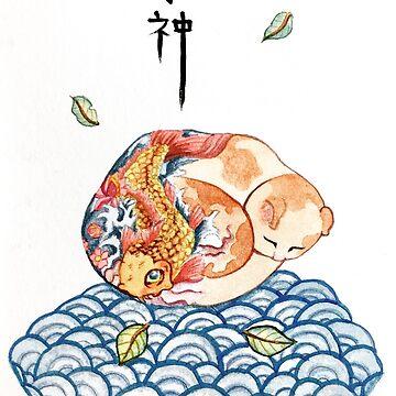 Koi Kitty - Watercolors by ColaChu