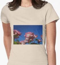 Pink Rose; Blue Sky  Womens Fitted T-Shirt